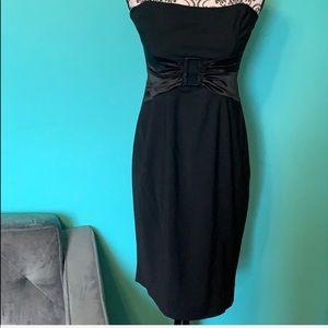 Bebe Strapless Plain Black Belt Look Night Dress